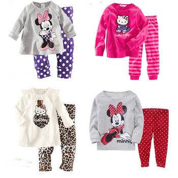 Пижама для детей, 100% хлопок, с изображениями героев из мультфильмов Hello Kitty и др.