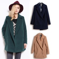 2014 Brand Women Woolen Jacket  Vintage Medium-long Cashmere Double Breasted Loose Winter Outwear Coat S M L 10166