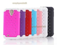 Hybrid Rugged Rubber Bling Crystal Hard Samsung Galaxy S4 IV i9500 Cover Case+Screen Protector