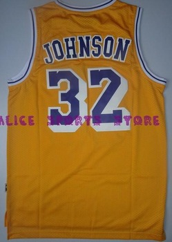 FAST Free Shipping, Retail& Wholesales, jersey Earvin Johnson #32 Top Grade New Material retro Basketball jerseys