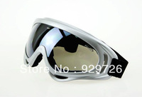 Silver Frame Ski Goggles Snowmobile Protective Glasses Dark Grey Lens UV 400 Free Shipping