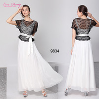 2013 new fashion Scoop Neckline Black Cream Bow Two Piece Set beauty  Evening Dress HE09834WH