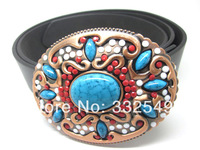 Western Native American Belt Buckle Turquoise Stone Indian Ladies Woman Cowgirl with Free belt , Free shipping worldwide
