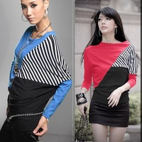 New Fashion 2014 sping European Style Women Bating Sleeve Loose Patchwork Striped T Shirts Long Plus Size Fall Tee Blouse Tops
