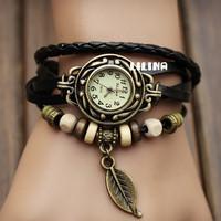New Arrivals Genuine Leather Hand Knit Vintage Watches,bracelet Wristwatches Leaf Pendant punk woman Fashion style
