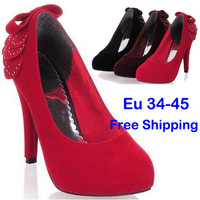 Eu34-45 2014 Suede Evening Party Women Classic Heels With Rhinestones Bows On Back Sexy Stiletto High Heels Dress Shoes SHP31027