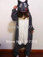 Free Shipping Gray Wolf  Japan Fleece Kawaii Cute Animal Pajamas/Pyjamas Costume Cosplay Cute Adult Unisex Sleepsuit