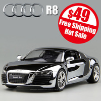 free shipping high imitation 100 Anniversary Limited Edition silver R8 car model with base alloy metal 1:24 door openable