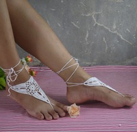 White crochet barefoot sandal, anklet bridesmaid accessories, sexy bridal accessories, wedding shoes accessories 5pair/lot