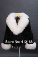 Real Patchwork Leather 3 Colors  2013 New Winter Women's Genuine Rabbit Fur & Wool Collar Coat Jacket vintage lady fashion