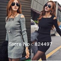 Free Shipping 2013 Autumn Winter Women's Slim Sexy Strapless Fall Club Dress M,L,XL 2Color Knit Dress