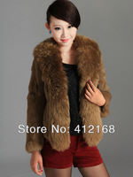 Luxury Real Leather FashionRabbit Fur & Wool Collar 2013 New Winter Women's Genuine Coat Jacket vintage lady