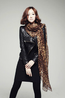Big Size Free Shipping 2014 New Style Women's Long Silk Leopard Print Scarf Velvet Chiffon Scarf Lady's Accessories JD-02