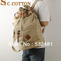 2013  Genuine Leather vintage fashion cotton canvas backpack hot sales and free shipping crazy horse leather canvas backpacks