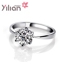 Free shipping YL brand f ring 925 stamp silver & 3 layers of platinum AAA grade crystal man & woman rings wedding ring