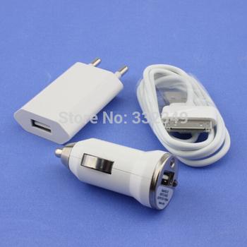 CN 3 in 1 Mobile phone 1 pcs EU Plug +1pcs Car charger +1pcs data USB Cable Kit for apple iPhone 4 4S 3GS 3G iPod
