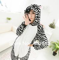 Adult Animal Pajamas Cosplay Costumes Nightwear Onesie Lovely Zebra Size S/M/L/XL. Free Shipping.
