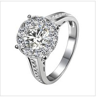 free  shipping  3 carat diameter of 18 k white  / gold natruel dimond ring  luxury group get married dimond ring