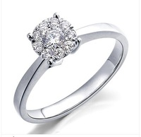 free  shipping 18 k platinum luxury 20 points dimond wedding ring women quit shi jue authentic W1010079Q