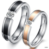 Korean Fashion Personality Titanium Steel Pair Couple Rings Popular Jewelry GJ291