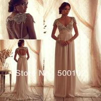 Glamorous V Neck Cap Sleeve Beaded Empire Chiffon Elegant Wedding Dresses