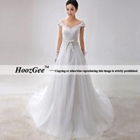 Free Shipping High-end Custom A-Line V-Neck Cap Sleeve Court Train Lace Satin Wedding Dress Plus Size Customize HoozGee-1056