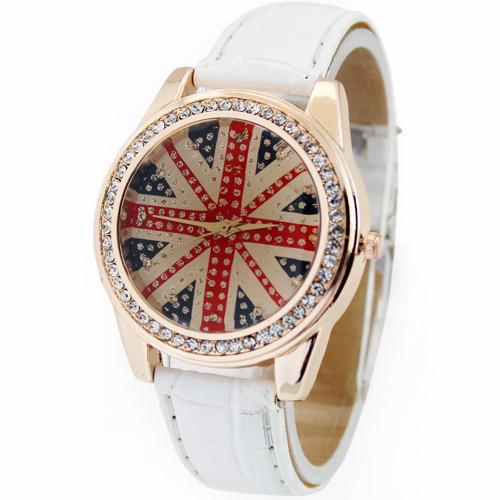 Free Drop Shipping White Fashion Deluxe UK Flag Diamond Jewelry Woman Lady Girls Analog Dress Gift