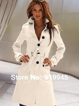 БЕСПЛАТНАЯ ДОСТАВКА 2013 Новый женщины сексуальное шерстяное пальто Medium-Длинный ...
