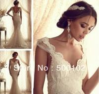 Vintage V Neck Cap Sleeve Empire Mermaid Lace Wedding Dresses