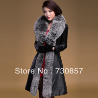 2013 the new fox collars sheep skin leather coats women long mail free of charge