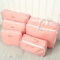 1set Men and Women Double Zipper Waterproof Nylon 5 Pieces Set Travel Packing Organizers Bags
