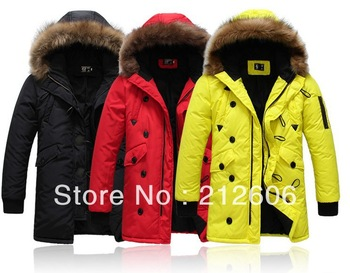 2013 New Winter Clothing Male Fashion Design Long Wadded Jacket Men's Large Fur Collar Slim Coat Cool Colorful Outerwear