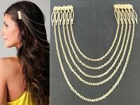 Fashion punk  long Metal chain tassel Hair Comb headwear hair ornament Accessories ne hair accessory free shipping