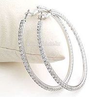 Free shipping hot sale & fashion Drill circle Hoop Earrings crystal Hoop Earrings