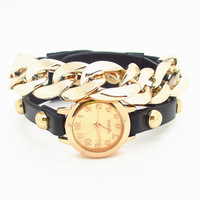 New arrived plating gold, multicolor leather acrylic chain combination, punk style women fashion wristwatches,SB092