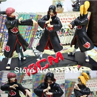 Free shipment 2013 Japan pvc anime Naruto Shippuden action figures set 3 pieces/ lot Akatsuki Itachi, Deidara, Sasori boys toys