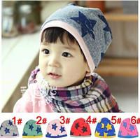 Fashion 5pcs/lot Spring Autumn Winter Stars Cotton Baby hat Kids cap children hat 6 colors Free shipping