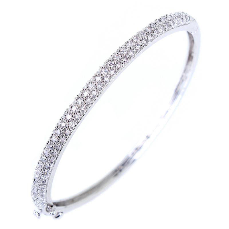 Fashion Elegant Top Quality AAA+ Cubic Zirconia Diamond Thin Bangles For Christmas Wholesale Free Shipping(China (Mainland))
