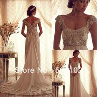 Vintage Square Beaded Portrait Cap Sleeve Chiffon Wedding Dresses