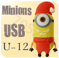 Hot U-12 Despicable Me 2 Minions Cartoon U Disk 256MB 4GB 8GB 16GB 32GB 64GB USB 2.0 Flash Memory Stick Gift USB Flash Drive