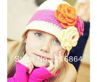 (Min order $15)Free Shipping-Super Cute And Beautiful Hats For Children Three Big Flower Design White Wool Winter Caps For Girls