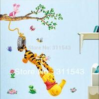 bear and tiger wall sticker cartoon , 3D kids wallpaper , children bedroom stickers home decoration mural k040 Free shipping