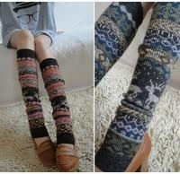 6pairs/lot wholesale fashion winter warm thick women socks high knee knitted rabbit wool printed Leg Warmers Free shipping