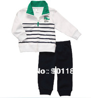 wholesale Carter's baby boys 2 piece clothes set pullover overcoat+trousers pants top quality 100%cotton jacket Free Shipping