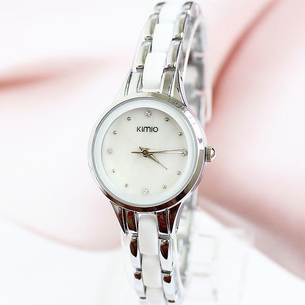 Kimio Brand Diamond Hours clock female Ladies full steel Silver Dress Women girl Quartz Watches Bracelet Wristwatch Round gift(China (Mainland))