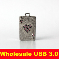 Silver Poker Mickey Usb2.0 Pen Heart Drive Metal Pendant Crystal Flash Drive 32gb New Year Gift Memory Card Cola U-disk Penguin