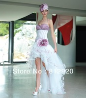 FSD101 Sweetheart Taffeta and Tulle Short Front Long Back  Bridal Purple and White Wedding Dress