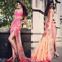Factory Direct 2013 Sweetheart  Hot Pink High Low Sexy Open Back Short Front Long Back Dress Prom Dresses 2013