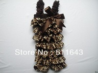 Hot Christmas wholesale brand baby cute rompers girl jumpsuit black leopard print patchwork lace strap top pant toddler clothing