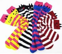 10pairs/lot Cat style girl knee over socks long sock striped girl's leg warmers dancewear 1-8years free shipping
